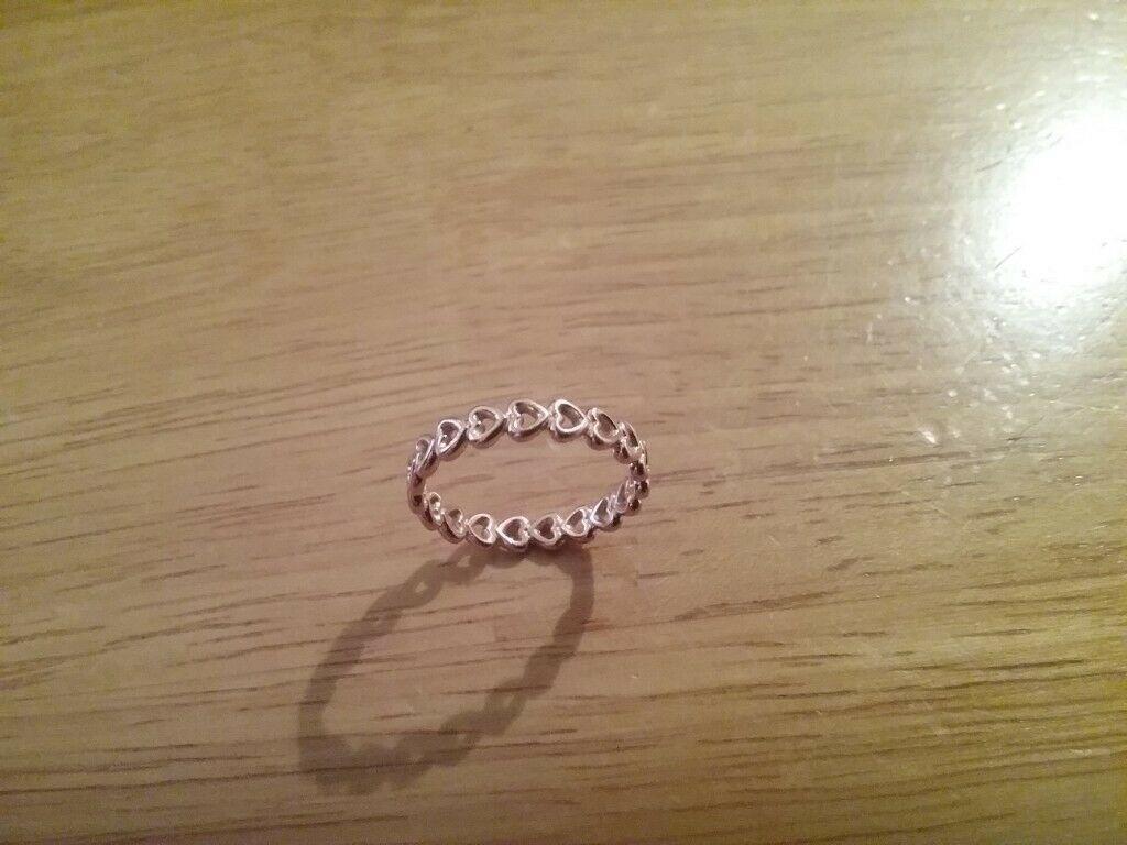 79 795598 rose gold pandora linked love heart band ring