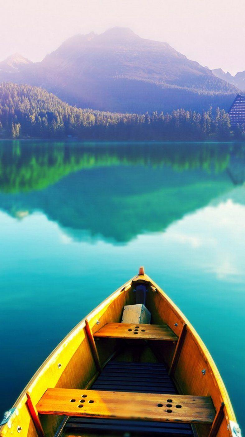 Boat On Still Lake Whatsapp Wallpaper Lake Iphone