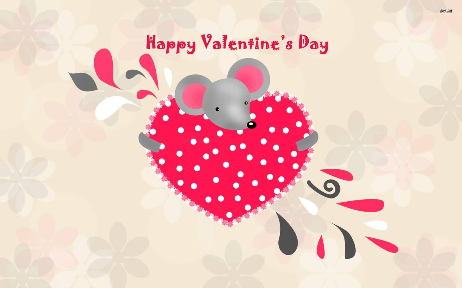 Happy Valentine's Day Mouse With Heart Wallpaper For - Cute Wallpaper Happy Valentines Day , HD Wallpaper & Backgrounds