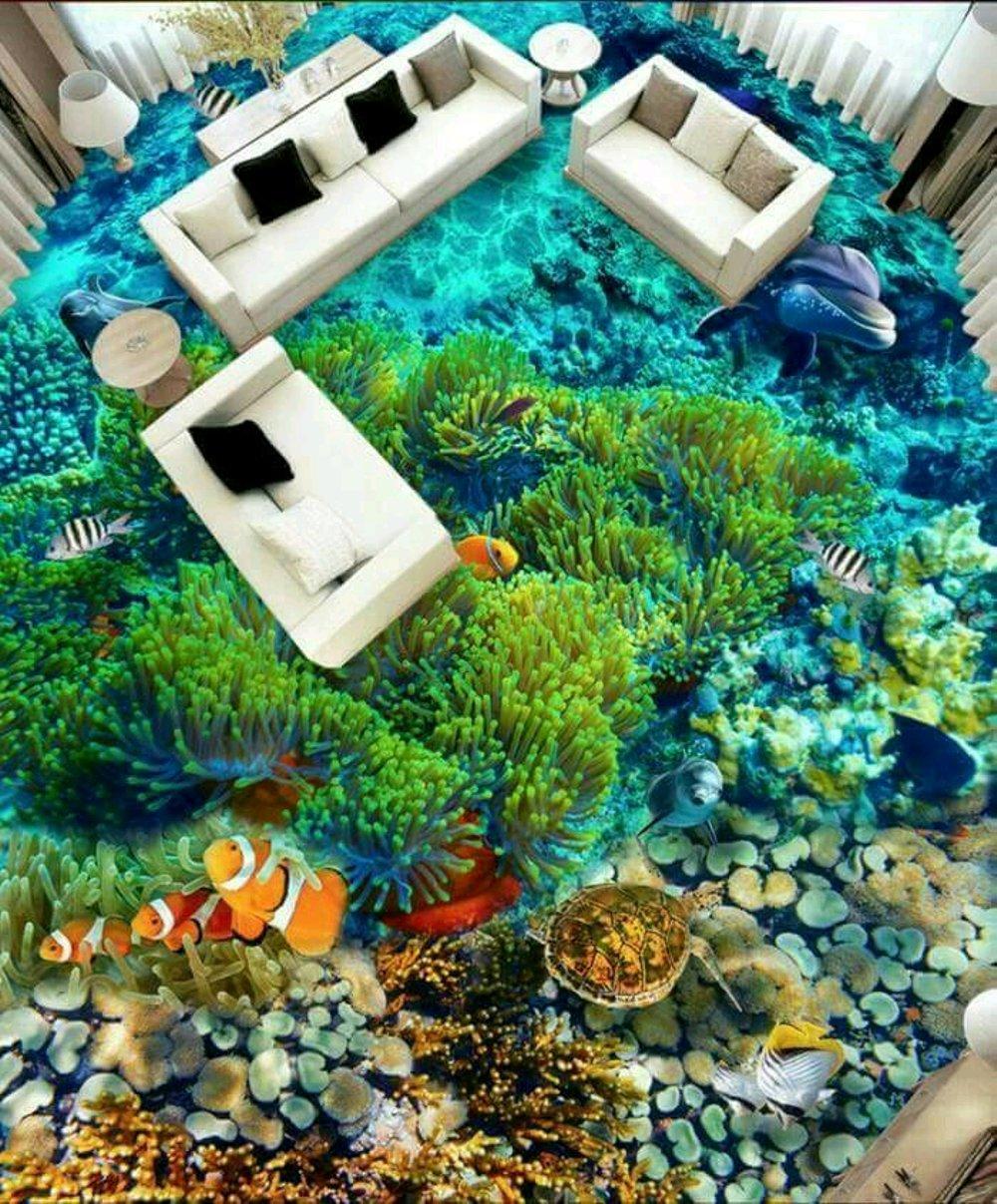 "Wallpaper Wall Paper Custom 3d 3 D 3 Dimensi Ikan Nemo Há """