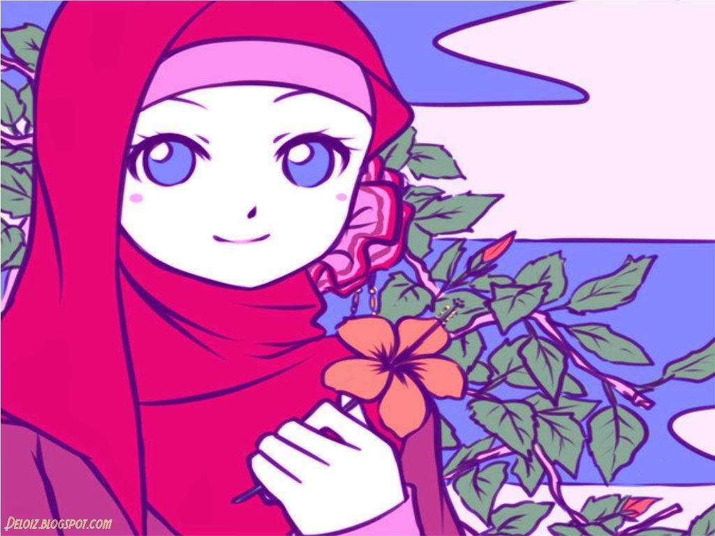 Koleksi Gambar Kartun Muslim Berpasangan Kartun Muslimah Cantik