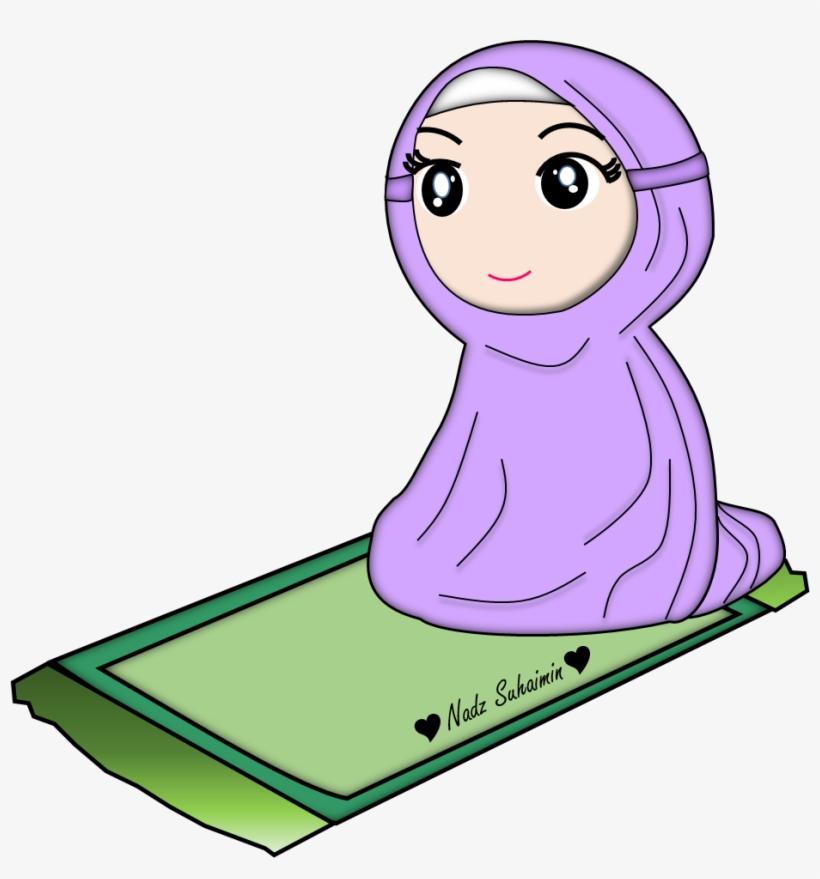 Gambar Kartun Muslimah Solat Transparent Png Download