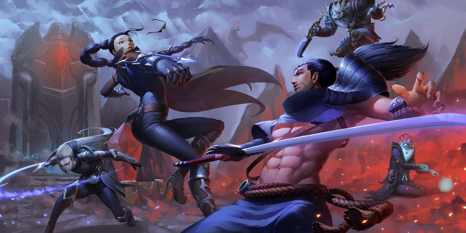Game Digital Wallpaper League Of Legends Yasuo Diana