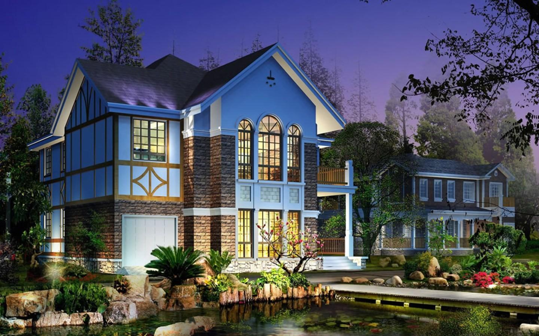 Home Sweet Digital Art Landscape Nature Desktop Backgrounds - Beautiful Houses With Garden , HD Wallpaper & Backgrounds