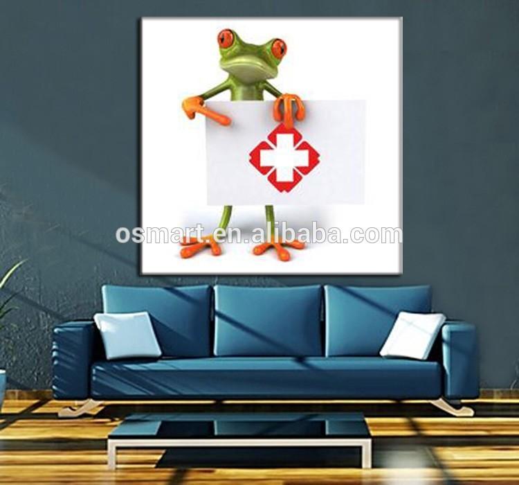 Modern Yang Abstrak Lukisan Kartun Hewan Lucu Katak Frog