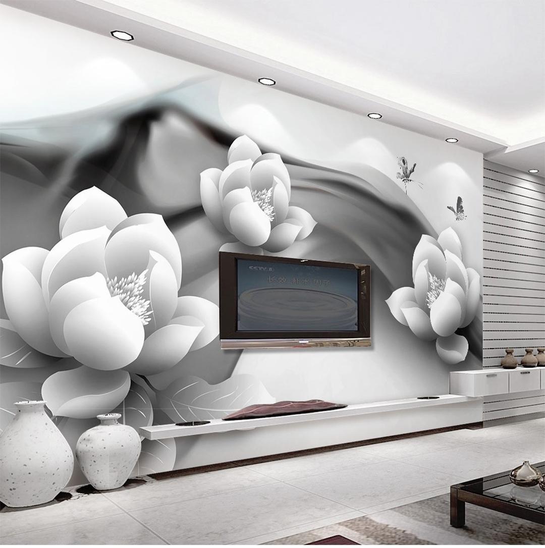 Background Wall Butterfly Beautiful White He Flower - Inchiostro Bianco 3d Carta Da Parati , HD Wallpaper & Backgrounds
