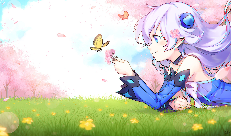 Anime Girls, Lu , Elsword, Aqua Eyes, Butterfly, Cherry - Wallpaper , HD Wallpaper & Backgrounds
