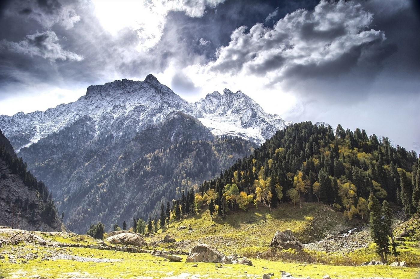 Fall, Mountain, Forest, Clouds, Snowy Peak, Trees, - Mountain Forest In Kashmir , HD Wallpaper & Backgrounds