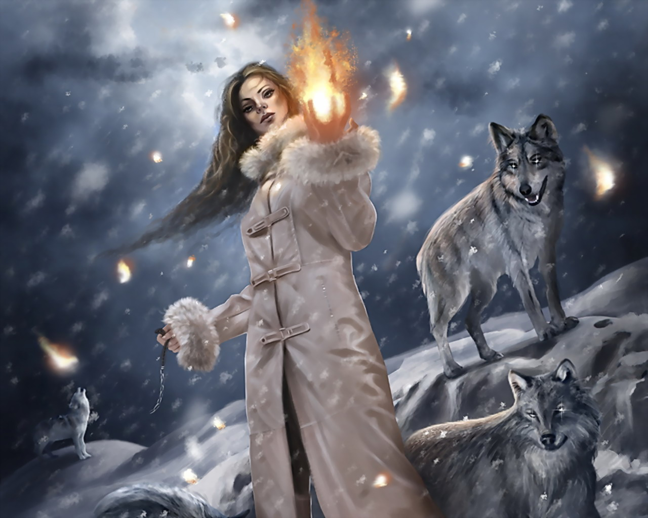 Wolf Wallpaper And Background Image Fantasy Art Winter Witch 823905 Hd Wallpaper Backgrounds Download