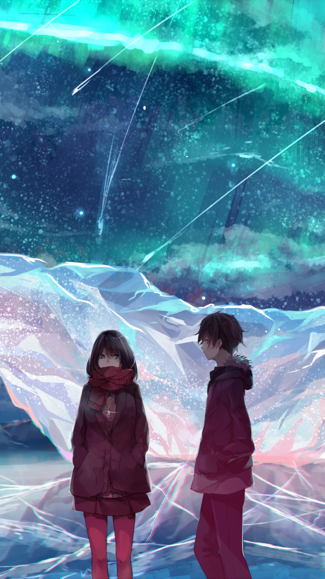 Anime Couple, Ice Field, Scarf, Anime Girl, Boy - Anime Couple Wallpaper Iphone , HD Wallpaper & Backgrounds