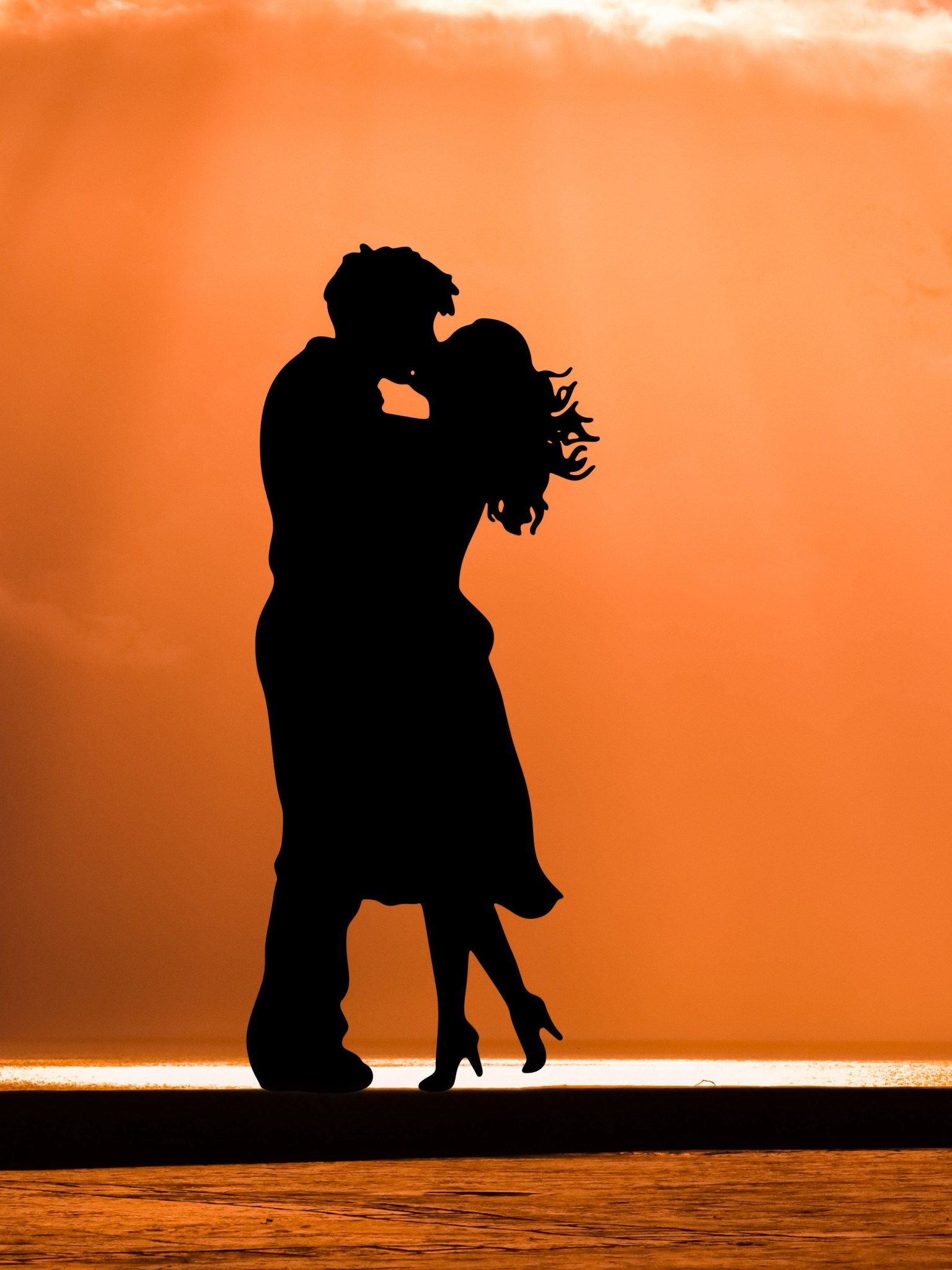 Wallpaper Kiss Couple Sunset Silhouette 5k Love - Romantic Quotes , HD Wallpaper & Backgrounds