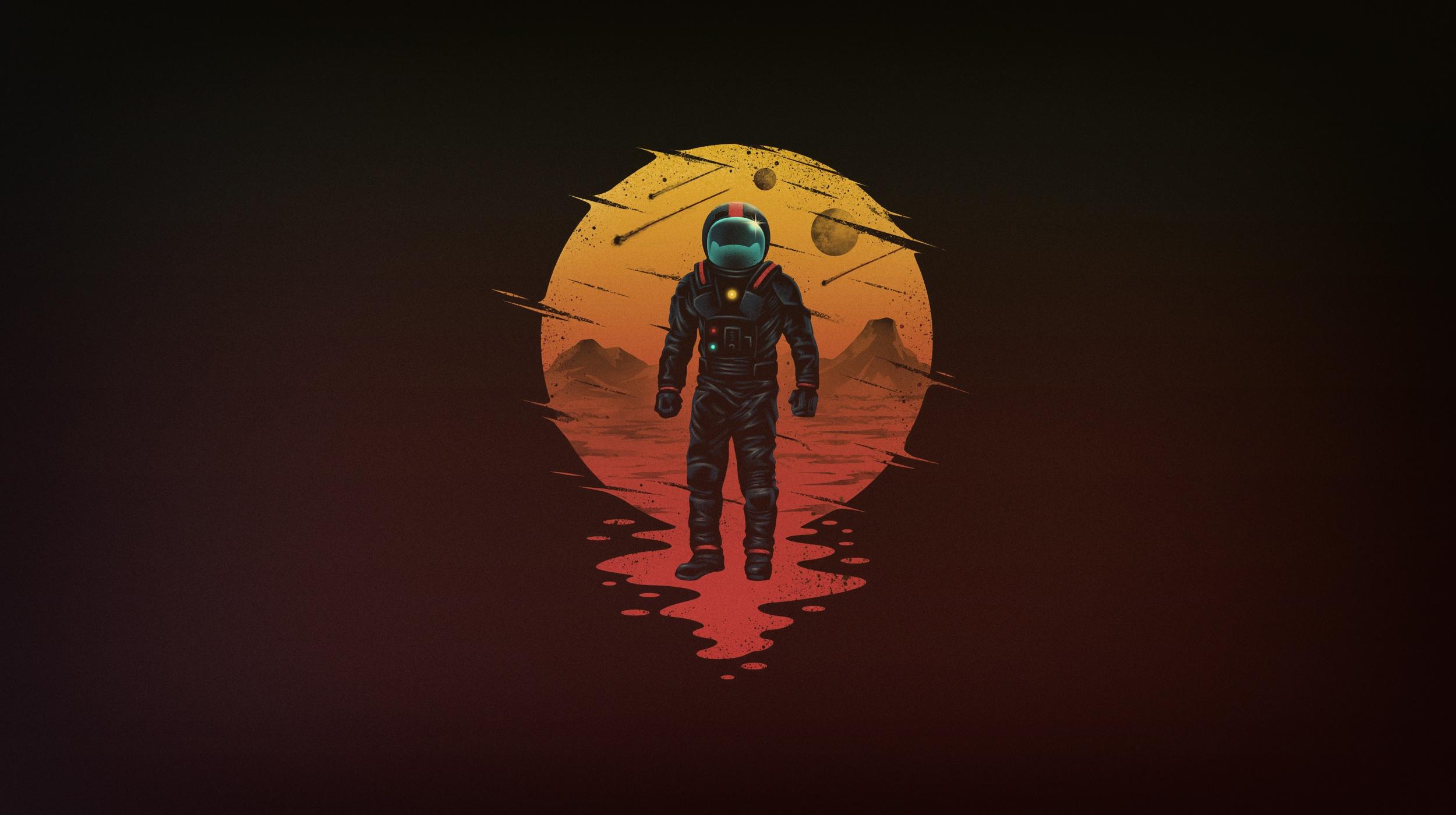 Astronaut Space Space Art - Astronaut Moon Art , HD Wallpaper & Backgrounds