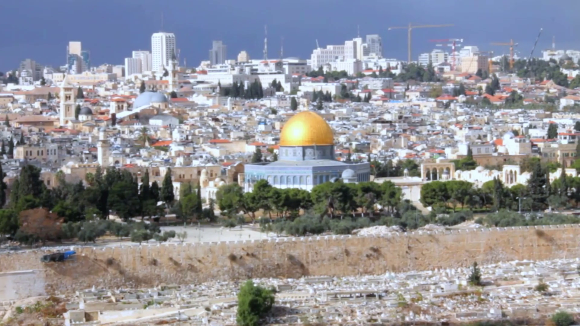 Dome Of The Rock And Al Aqsa Mosque As Viewed From Mount Of
