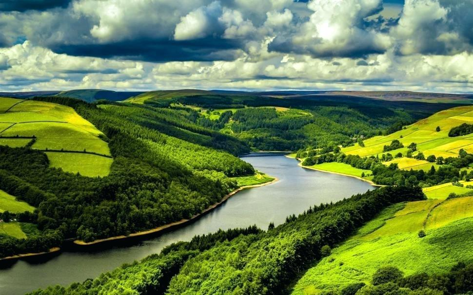 Scenery Wallpaper River Fields Forest Clouds Nature - Landscape In United Kingdom , HD Wallpaper & Backgrounds