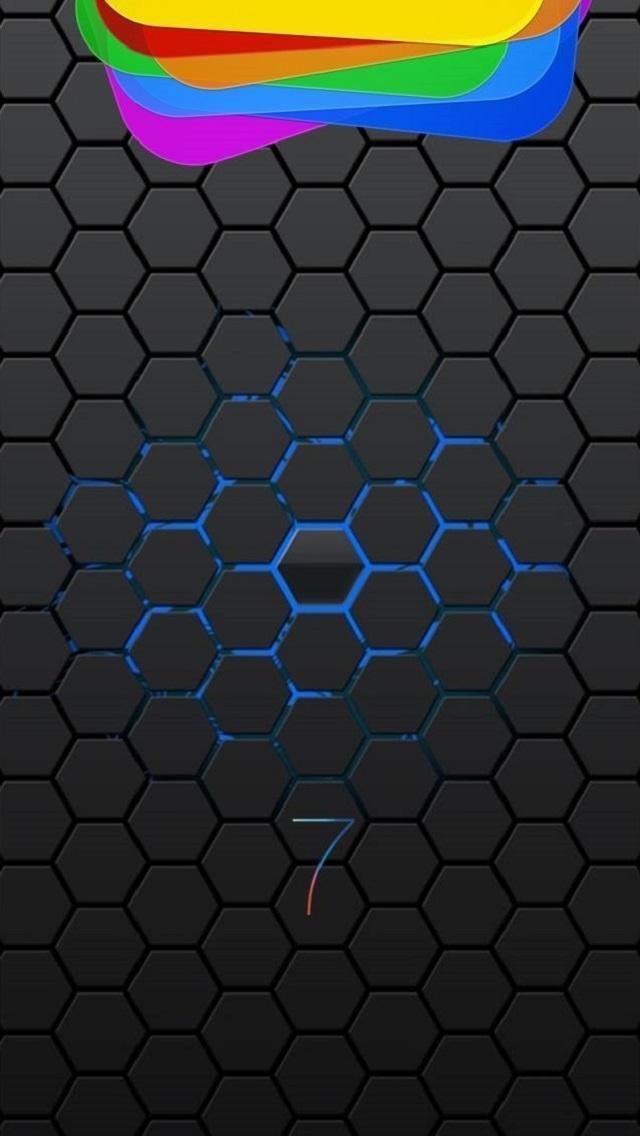 Ios 7 Dark Hexagons - Заставка Для Iphone 7 , HD Wallpaper & Backgrounds