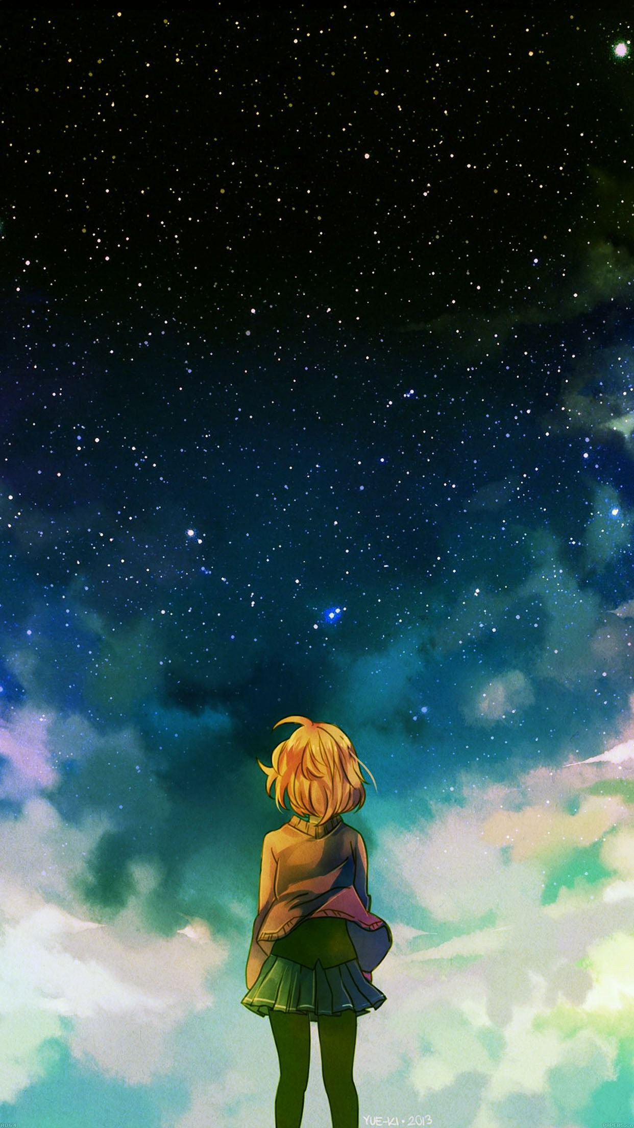 Android Wallpaper Anime Starry Night Illust Girl Hd - Starry Starry Night Anime , HD Wallpaper & Backgrounds
