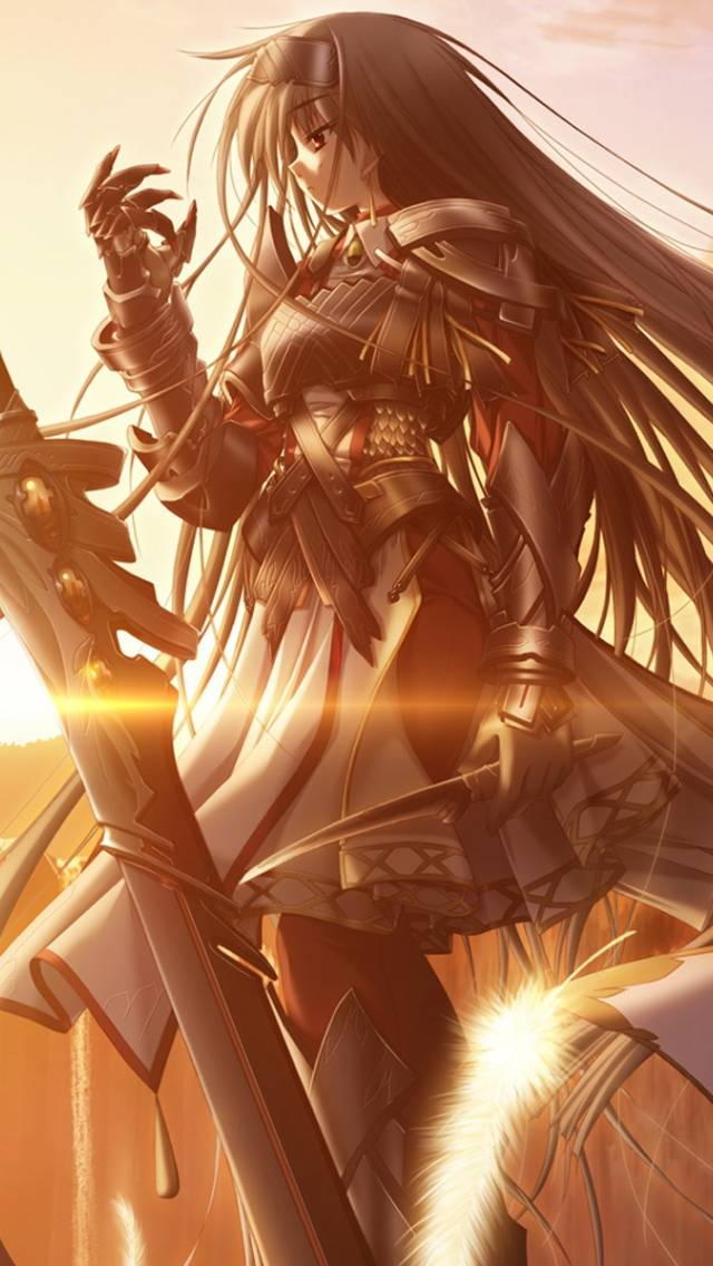 Sunset, Armor, Sword Anime Girl Anime Manga Wallpapers - Anime Girl Sword Wallpaper Iphone , HD Wallpaper & Backgrounds