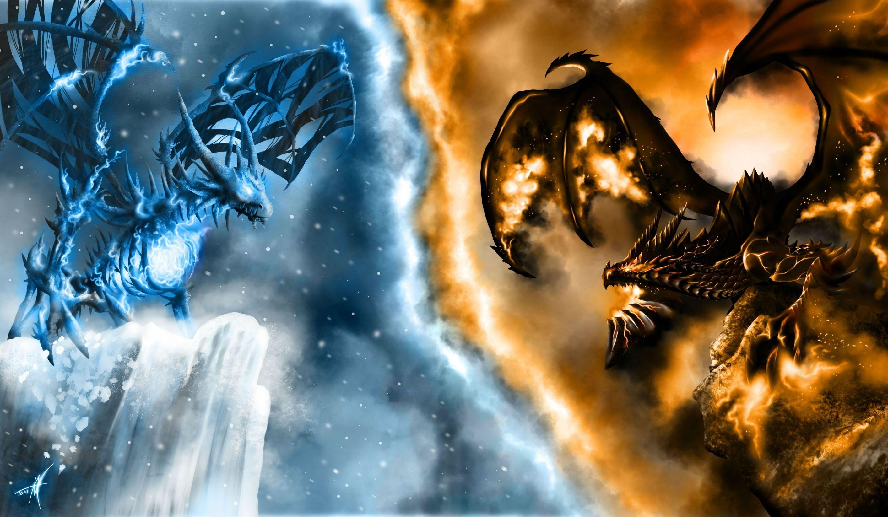 Wallpaper Fire Vs Ice Dragon 851227 Hd Wallpaper Backgrounds Download