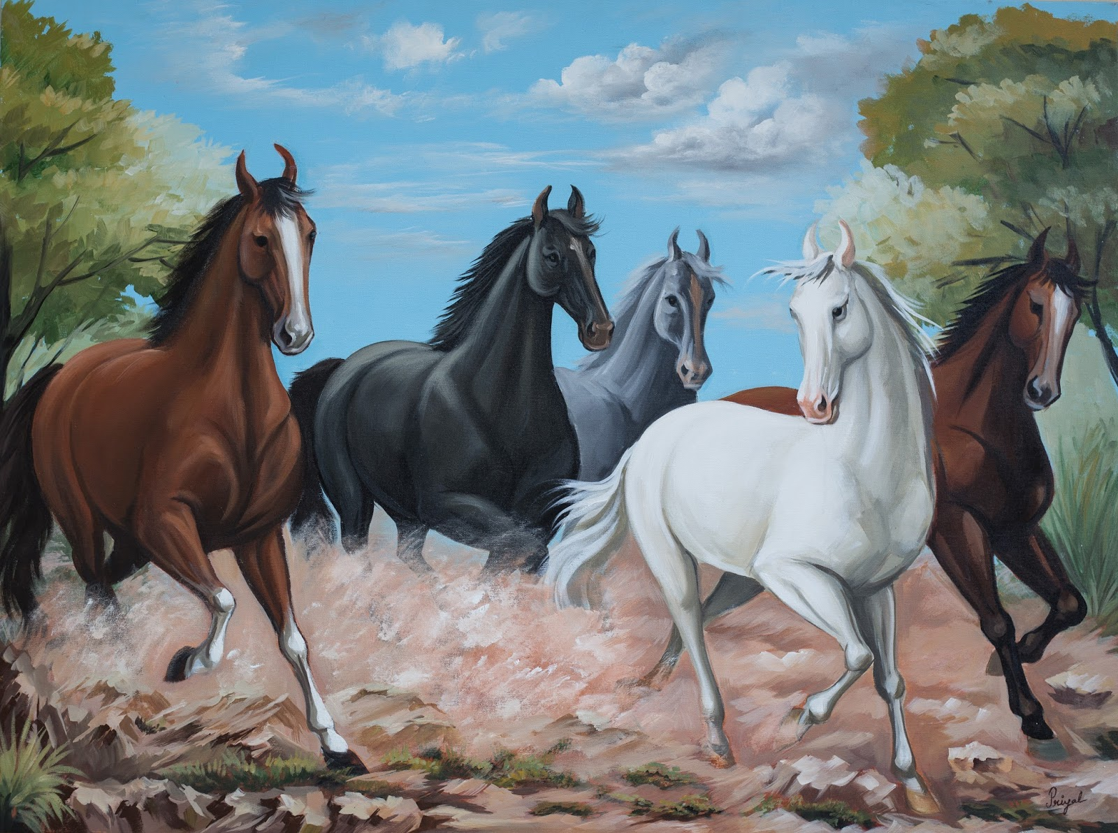 Seven Running Horse Wallpaper Running Horse Painting Vastu 853416 Hd Wallpaper Backgrounds Download