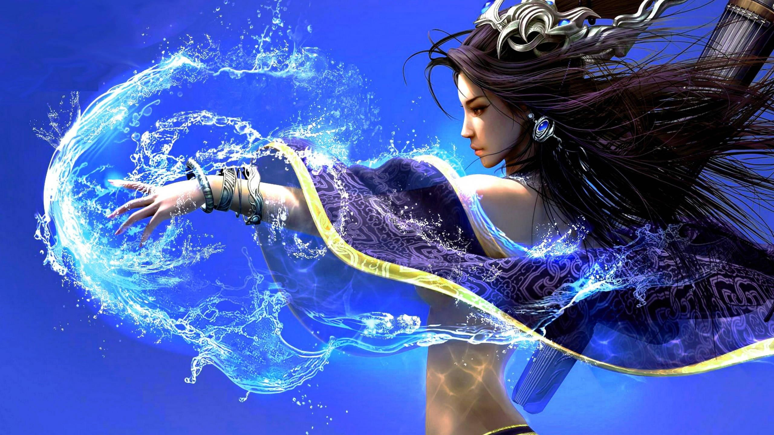 Beautiful Girl, Water, Fantasy, 3d And Abstract - Water Magic Fantasy Art , HD Wallpaper & Backgrounds