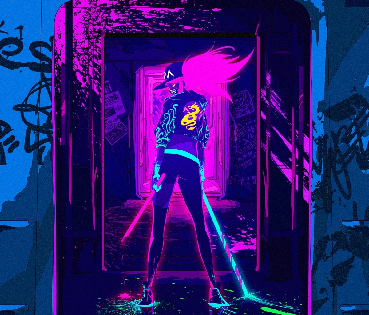 Artwork League Of Legends Akali Online Game Neon Kda Pop