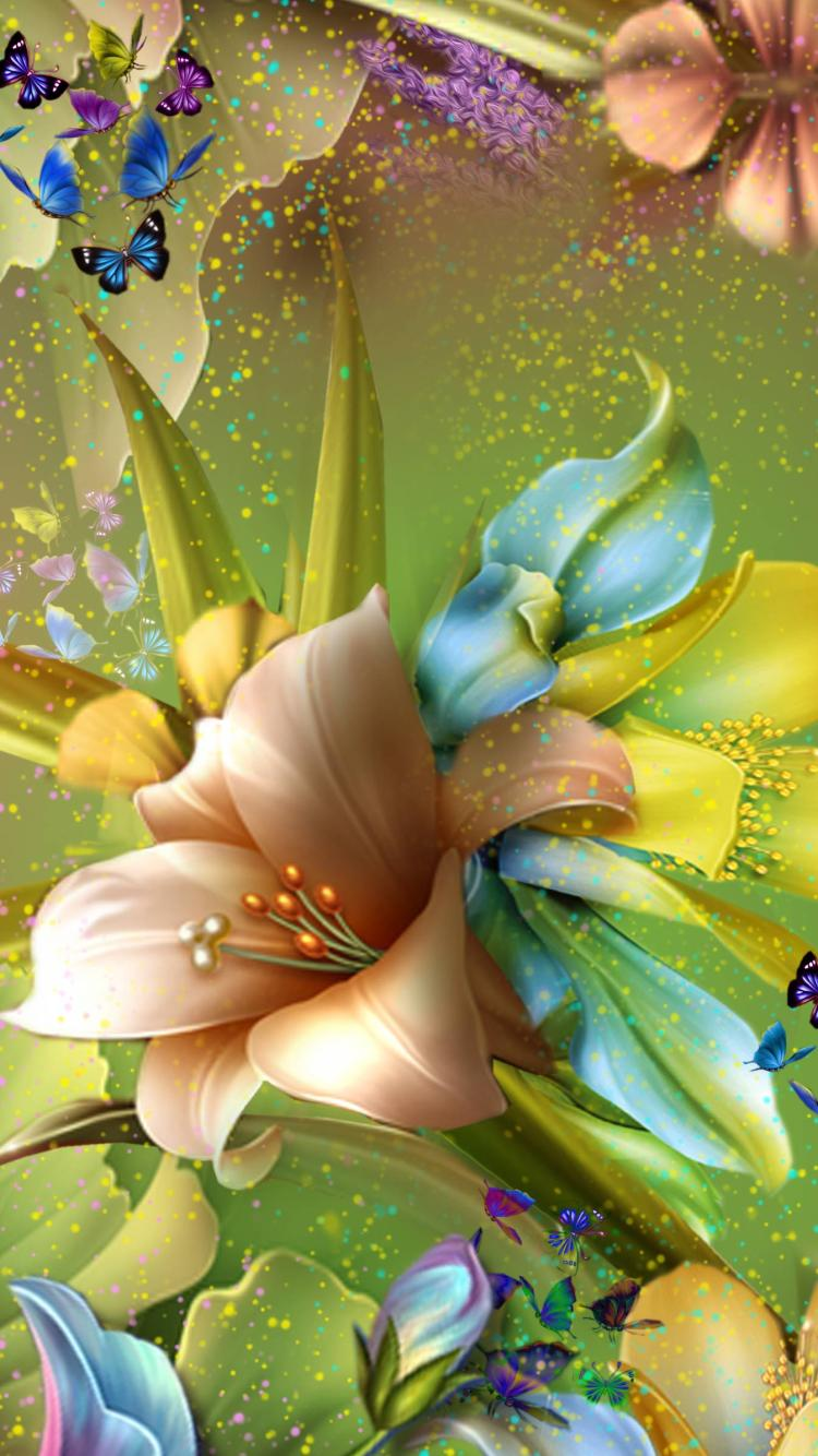 Wallpaper For Mobile Colorful Flower - Butterfly And Flower Mobile , HD Wallpaper & Backgrounds