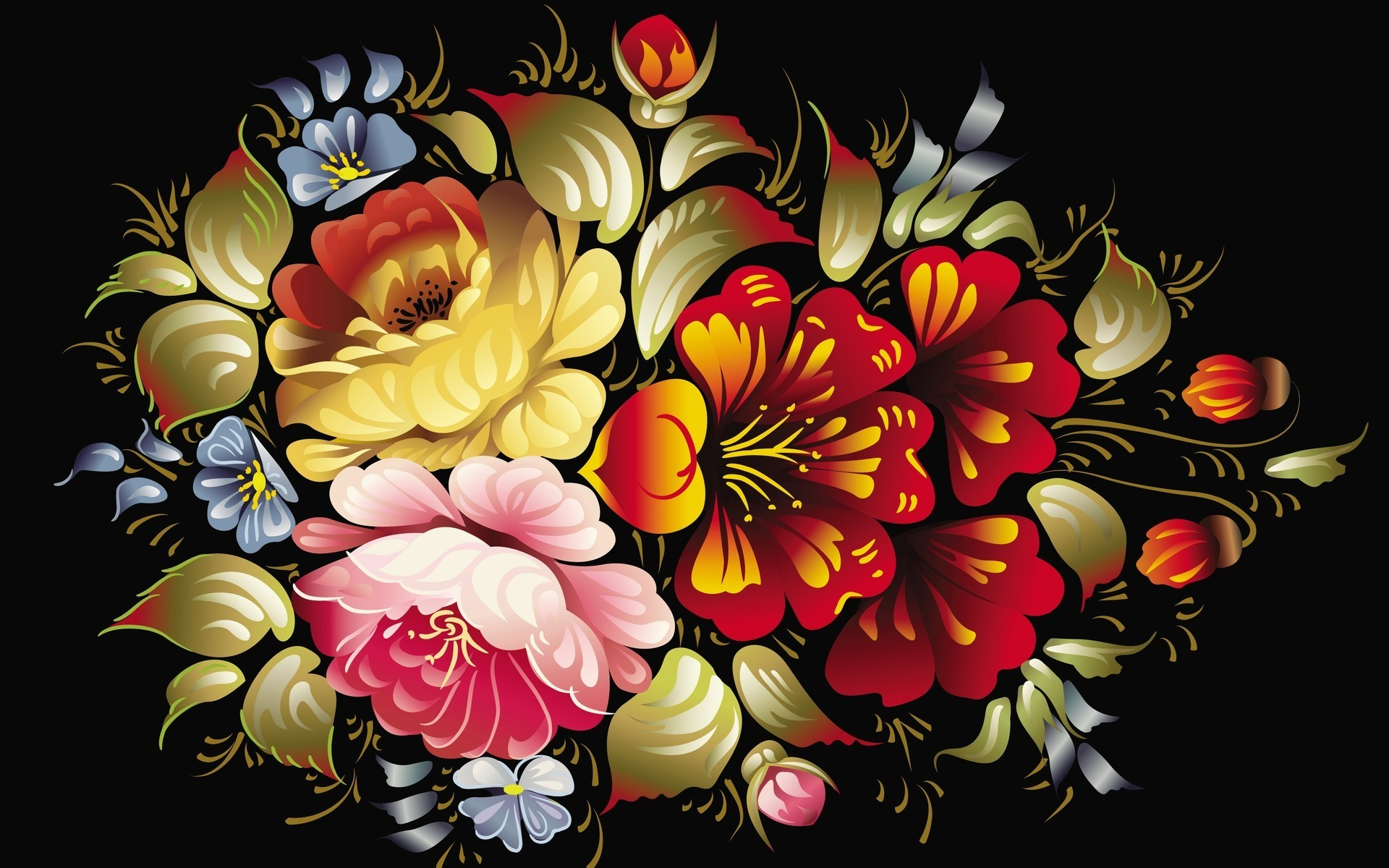 Black Background Wallpaper With Flowers Wide Wallpaper - Cool Wallpaper Designs For Desktop , HD Wallpaper & Backgrounds