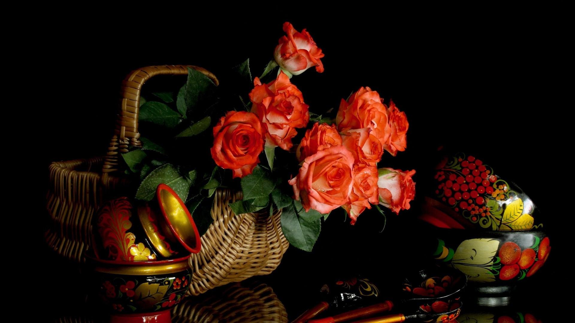 Nature Flowers Baskets Roses Black Background 1920 - Basket Of Flowers Hd , HD Wallpaper & Backgrounds