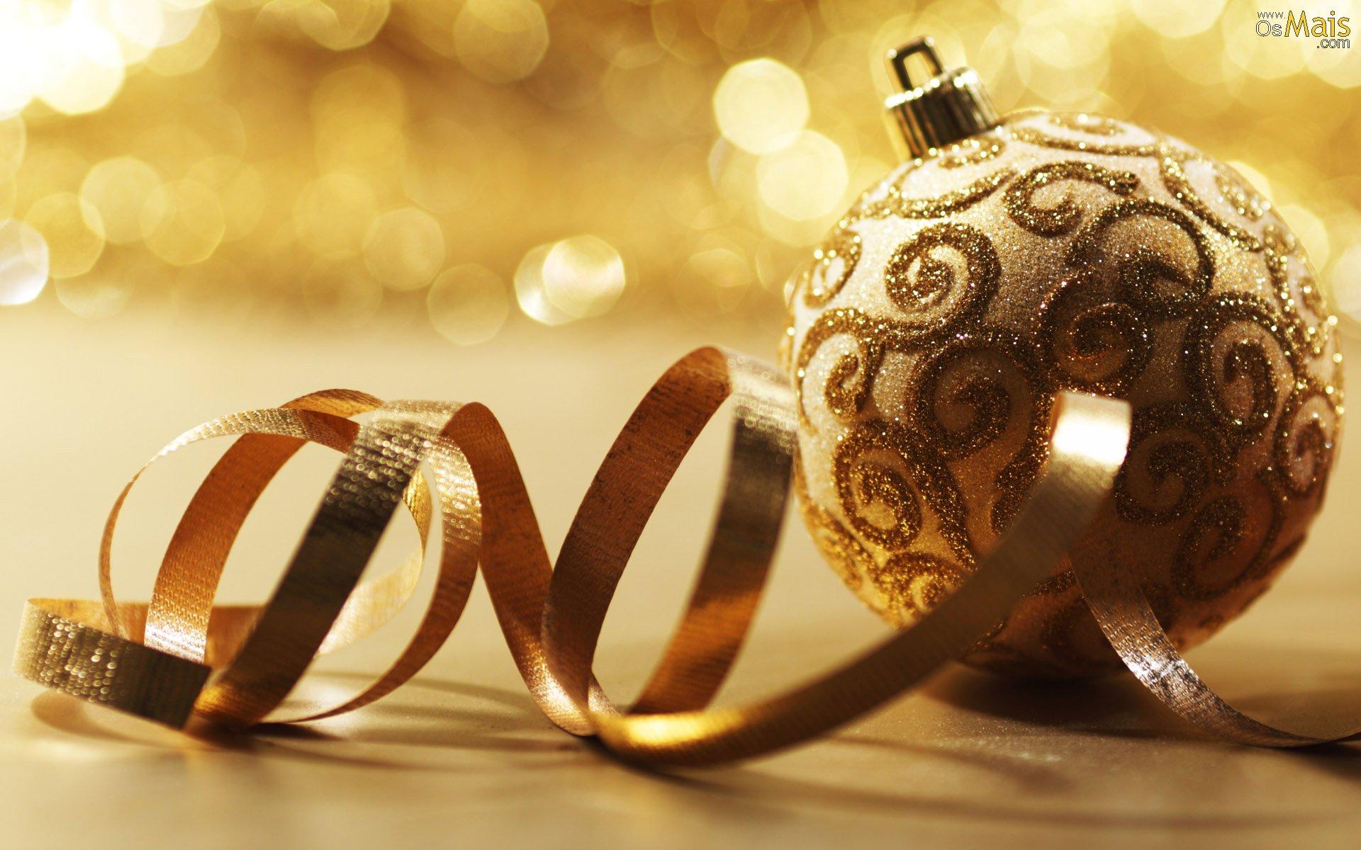 Papel De Parede Natal Dourado - Bolas Douradas De Natal , HD Wallpaper & Backgrounds