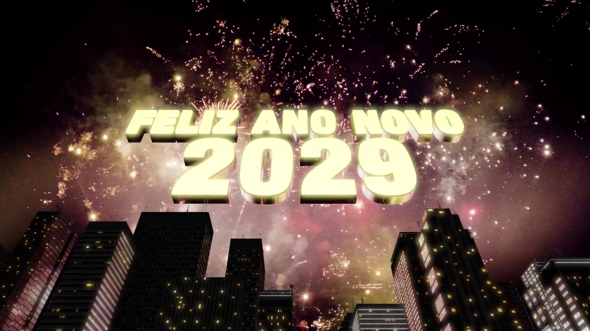 Seamless Looping 3d Animated Skyline With Fireworks - Happy New Year Russian 2019 , HD Wallpaper & Backgrounds