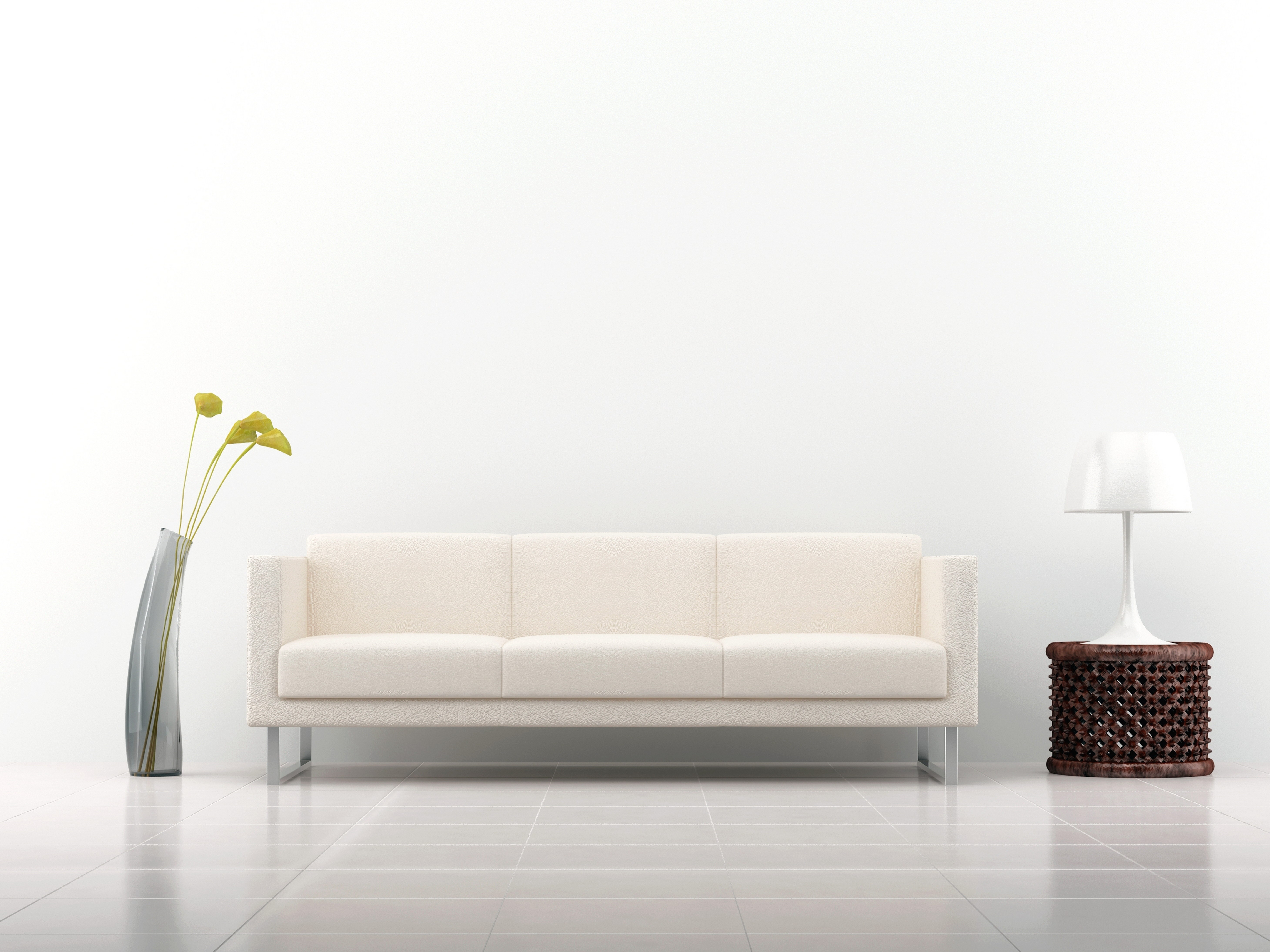 Sofa Decoration Interior Vase Lamp White Background White