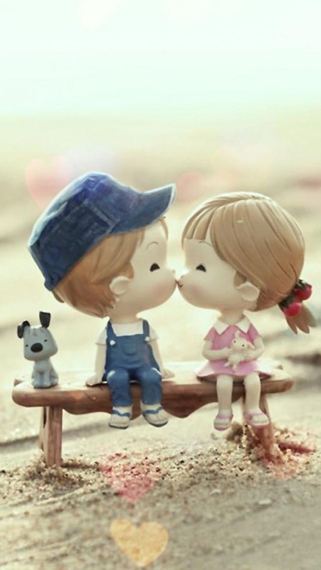Sweet Cartoon Cute Lover Couple Iphone Se Wallpaper Kiss Day