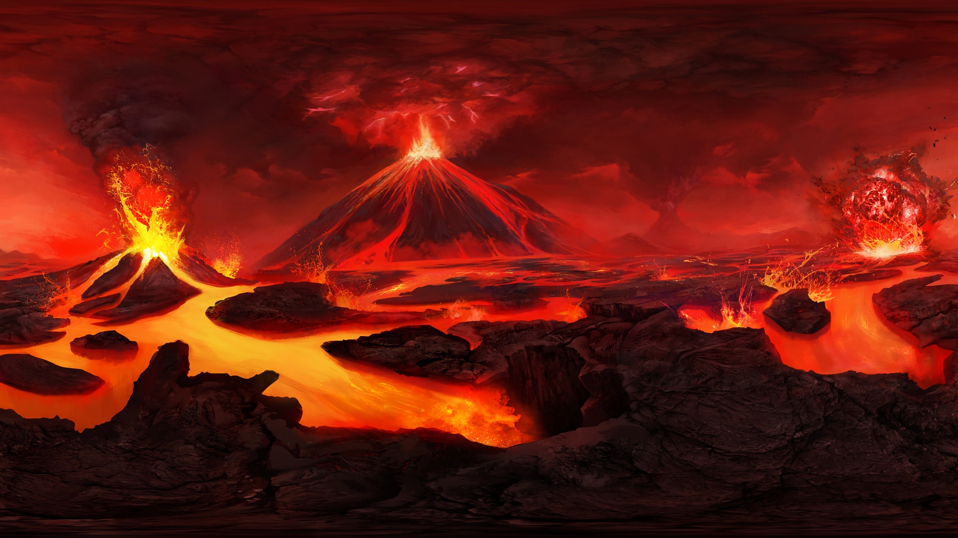 Lost in the Microvers [Ralph & Ray] 89-894364_wallpaper-volcano-art-lava-flash-volcano-background