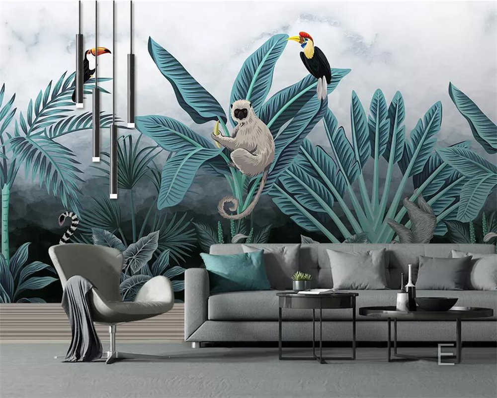 Beibehang Custom Wallpaper Medieval Hand-painted Tropical - Butterfly Light Living Room , HD Wallpaper & Backgrounds