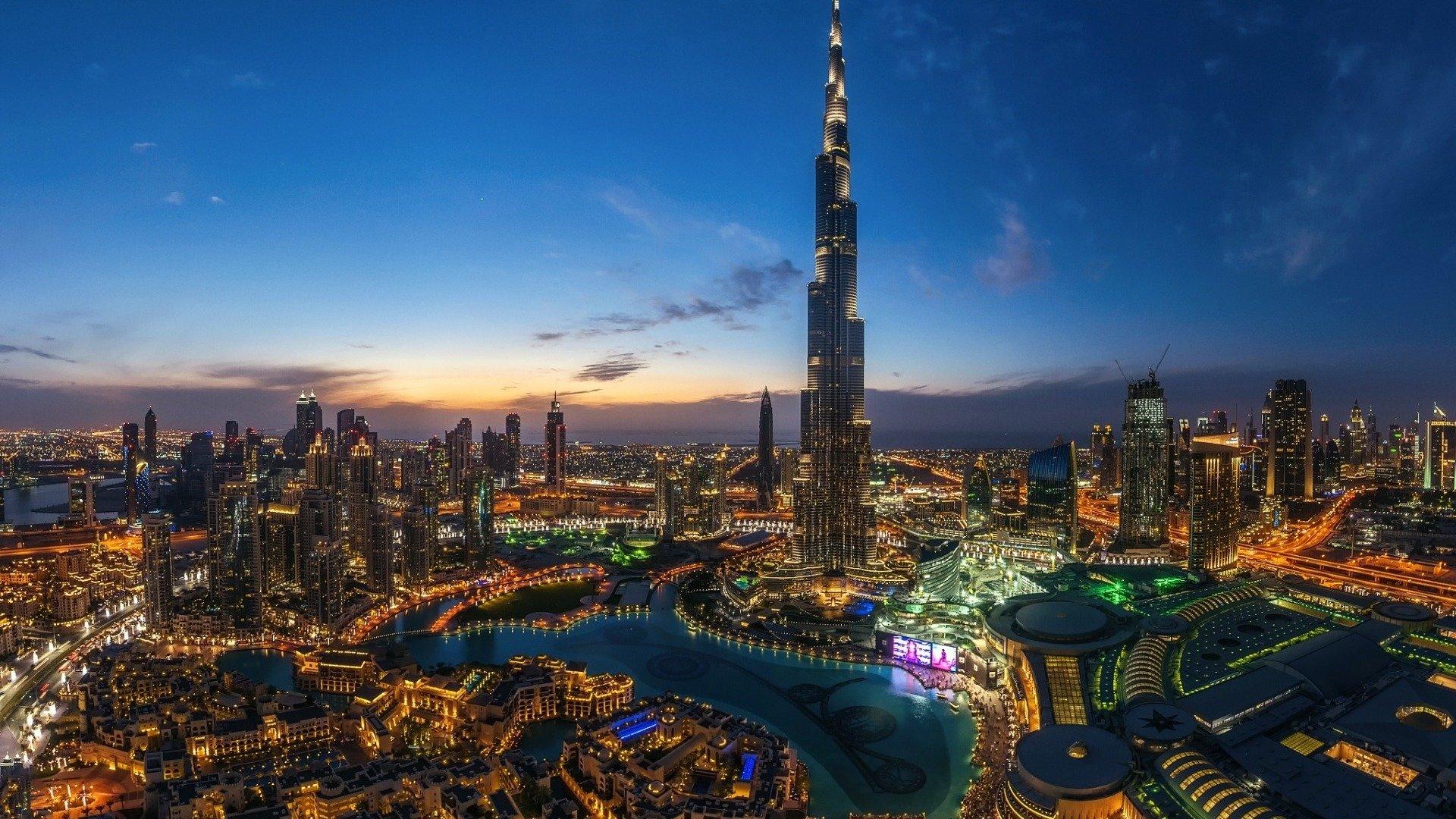 Night Lights In Dubai Wallpaper Burj Khalifa Night 4k