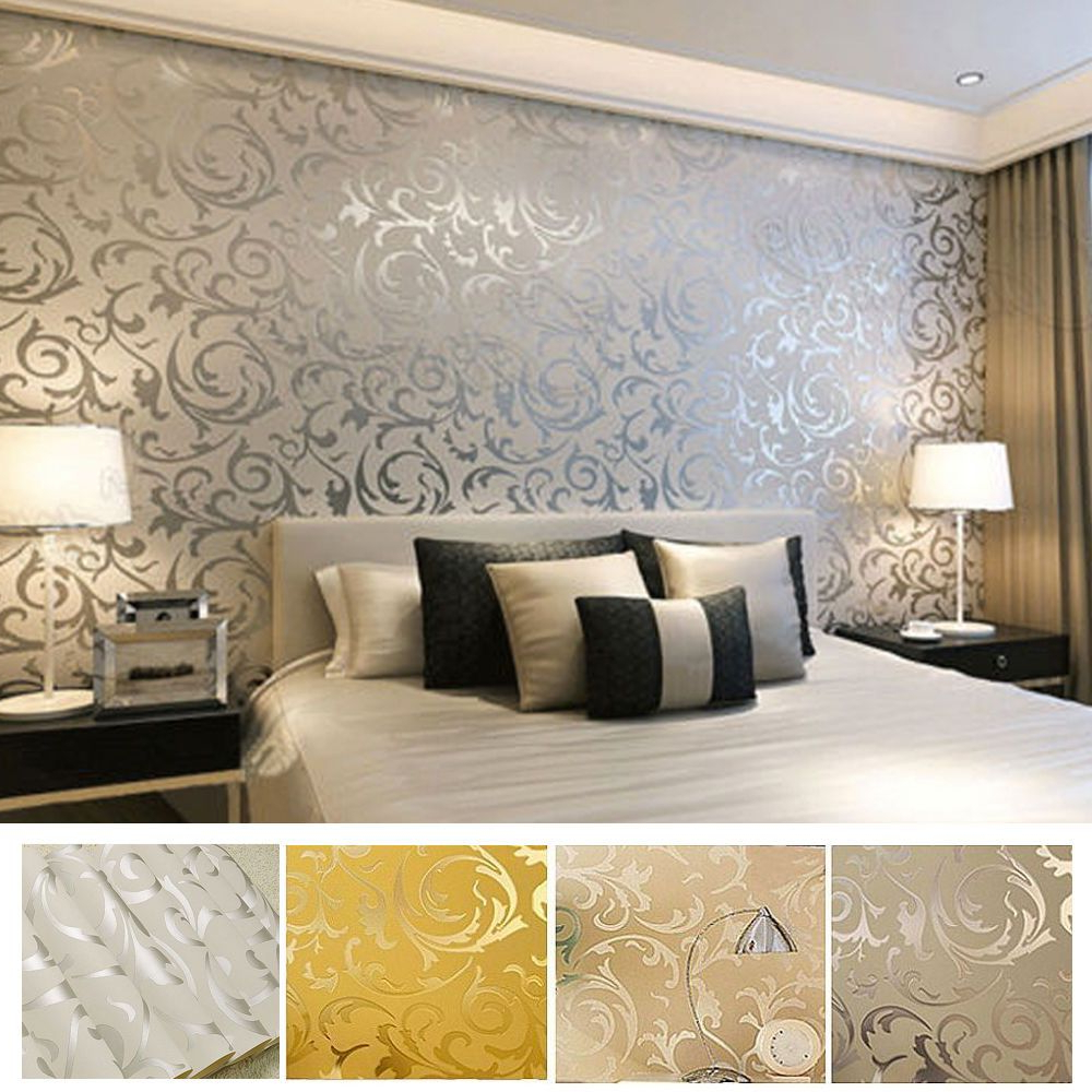 Silver Feature Wall Bedroom Victorian Damask Luxury - Luxury
