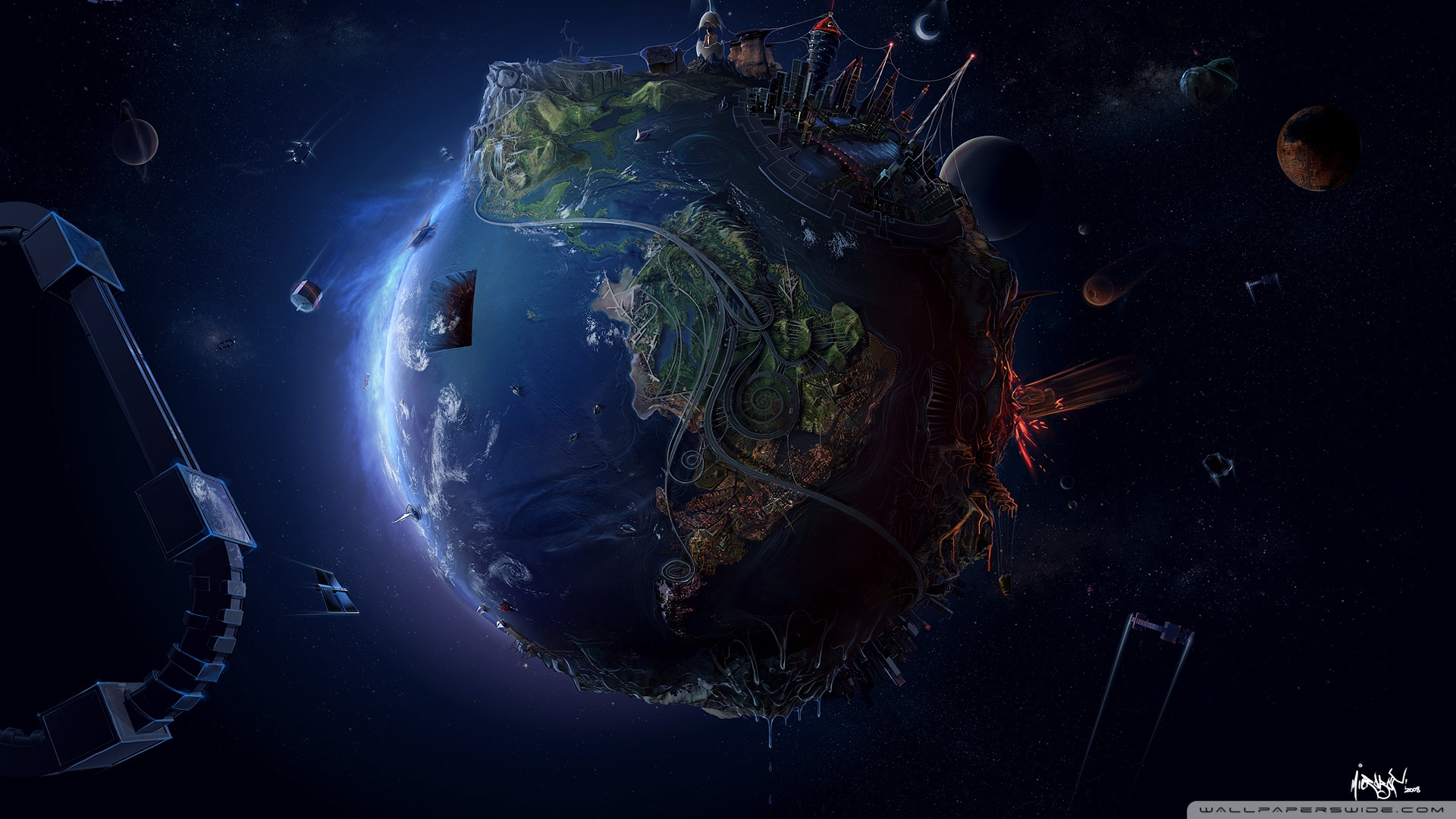 Earth In The Future Hd Desktop Wallpaper High Definition - Earth Space Wallpaper Pc Hd , HD Wallpaper & Backgrounds