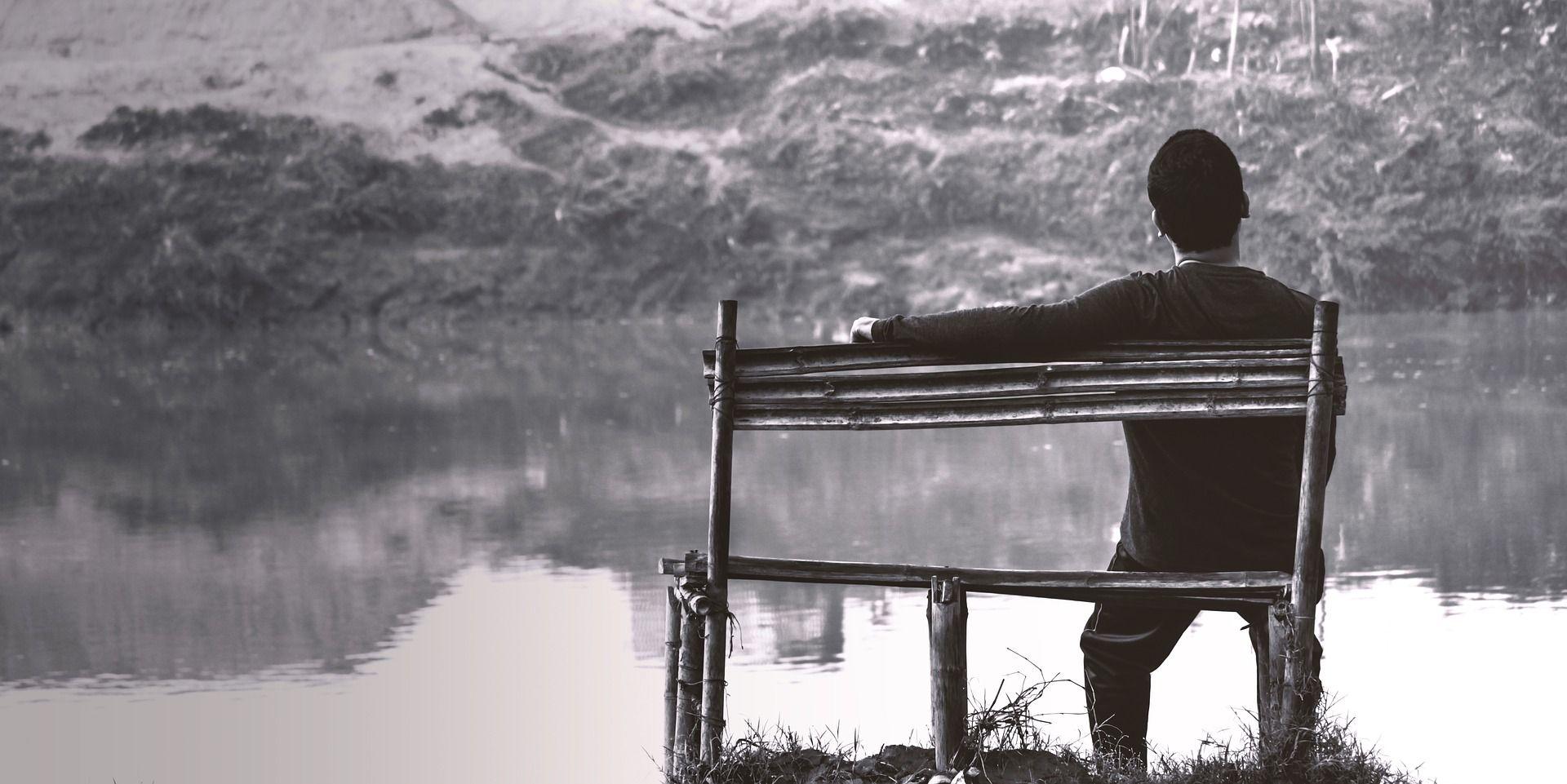 Sad Alone Boy On Bench Near River Wallpaper Sad Alone Boy