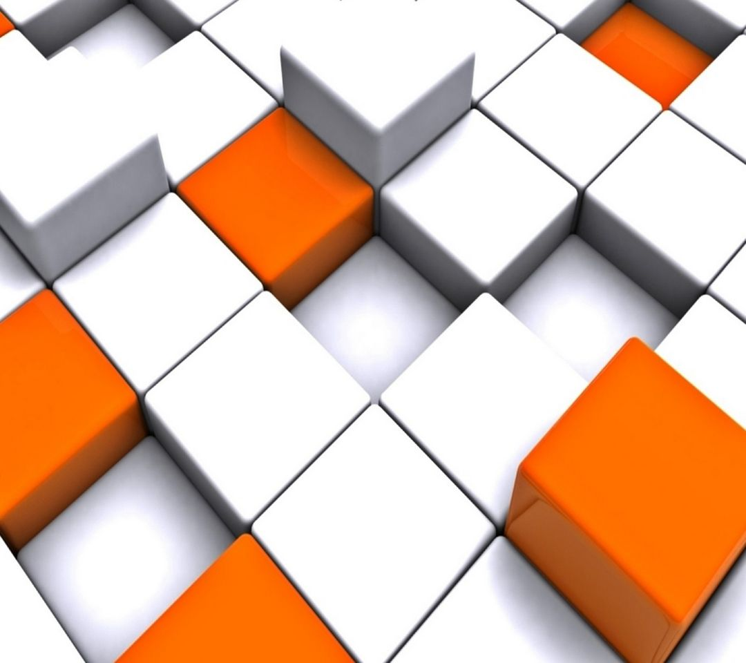 3d Cube Design Orange And White 3d Background