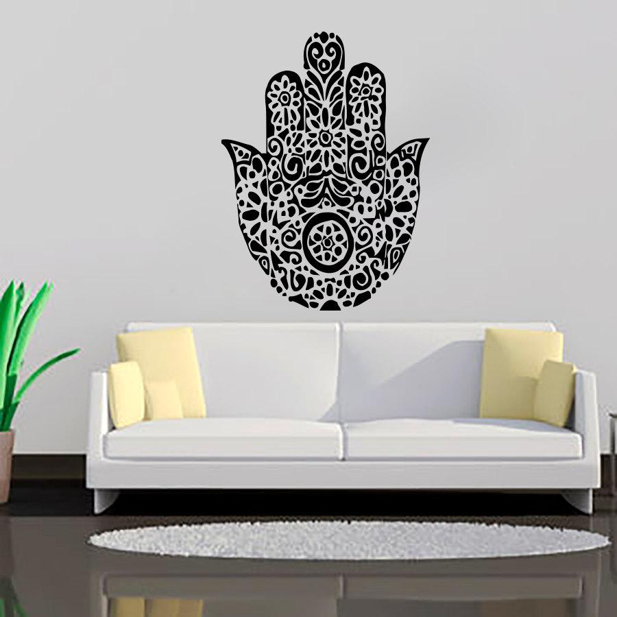 Black Printed Hamsa Hand Wall Decals Art Vinyl Transfer - Wall Decal , HD Wallpaper & Backgrounds