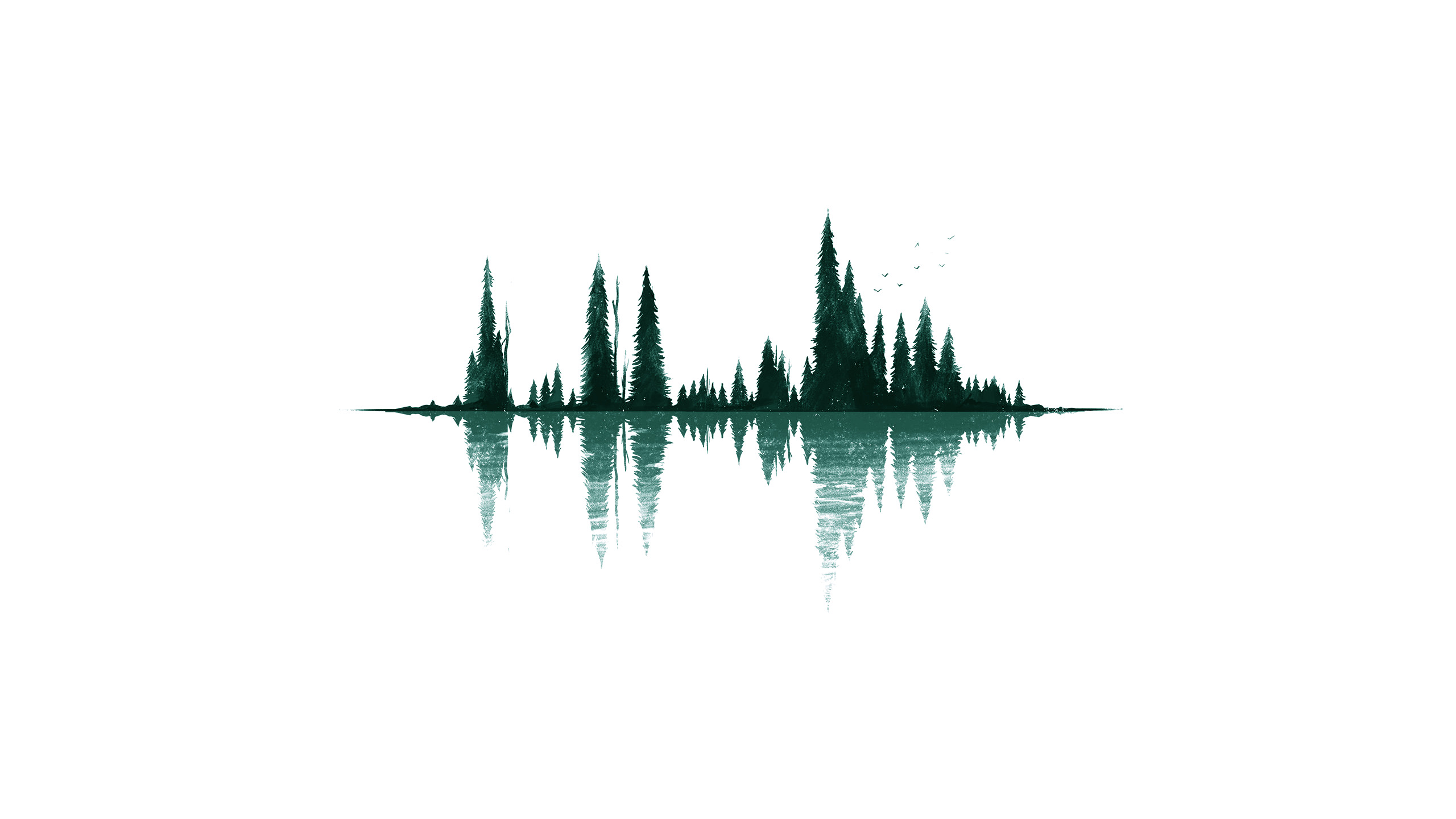 Minimalism, Simple Background, Digital Art, Reflection, - Desktop Wallpaper Minimalist Forest , HD Wallpaper & Backgrounds