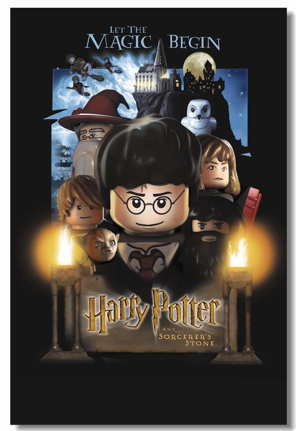 Custom Canvas Wall Mural Harry Potter Lego Poster Hogwarts - Harry Potter And The Philosopher's Stone Lego , HD Wallpaper & Backgrounds