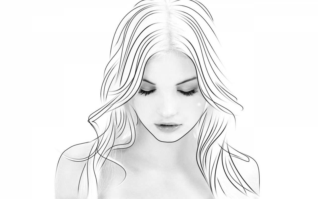 Woman Light Hair Ease Of Mind Wallpapers And Stock - Girl Eyes Closed Drawing , HD Wallpaper & Backgrounds