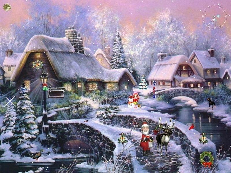 Christmas Desktop Wallpaper Animated Backgrounds Desktop - Christmas Scenery , HD Wallpaper & Backgrounds
