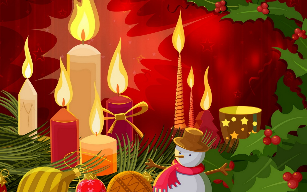Christmas Desktop Free Holiday Background - Christmas Candles Cartoon , HD Wallpaper & Backgrounds