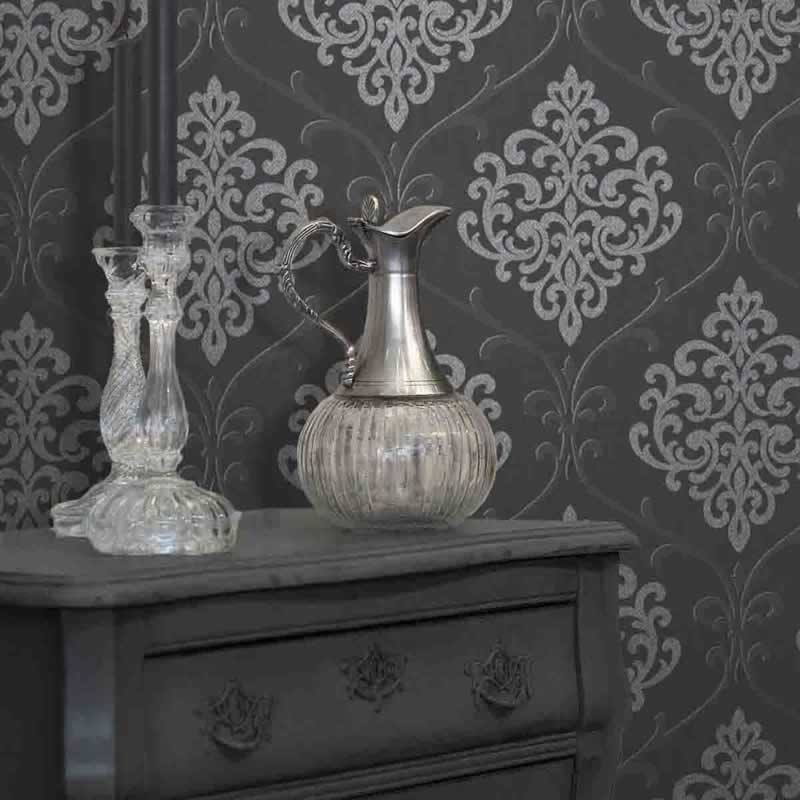Silver Glitter Wallpaper B Q Black And Silver Glitter Damask