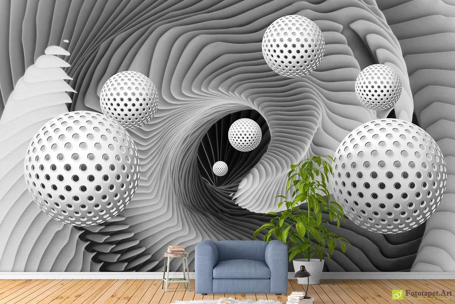 Wallpaper With 3d Effect Tapet 3d Alb Cu Negru