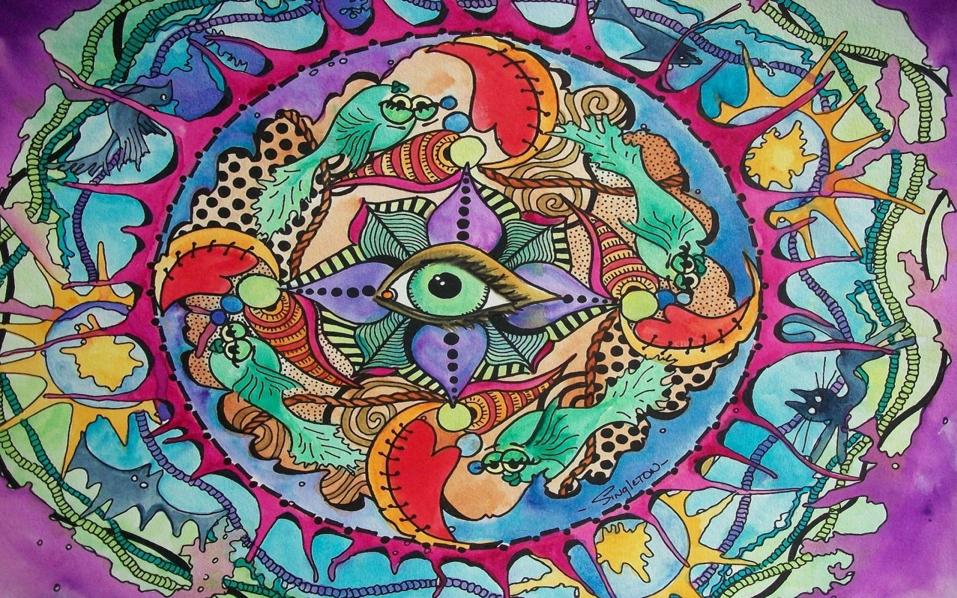 Trippy Hippie Wallpaper Hippie Artwork 946205 Hd Wallpaper