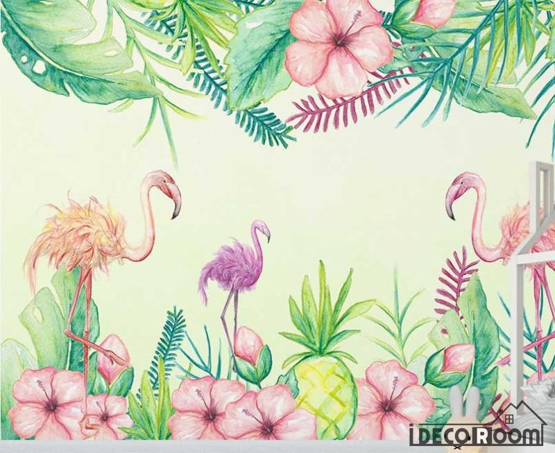 Medieval Tropical Flamingo Wallpaper Wall Murals Idcwp