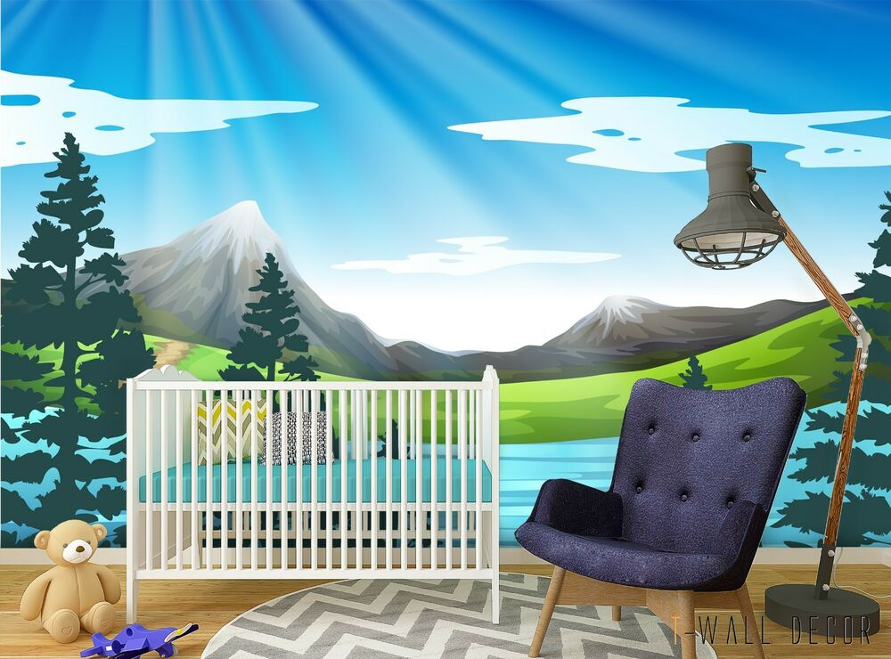 Mountain Wallpaper Nursery Mural Self-adhesive Kids - Kids Mountain Nursery , HD Wallpaper & Backgrounds